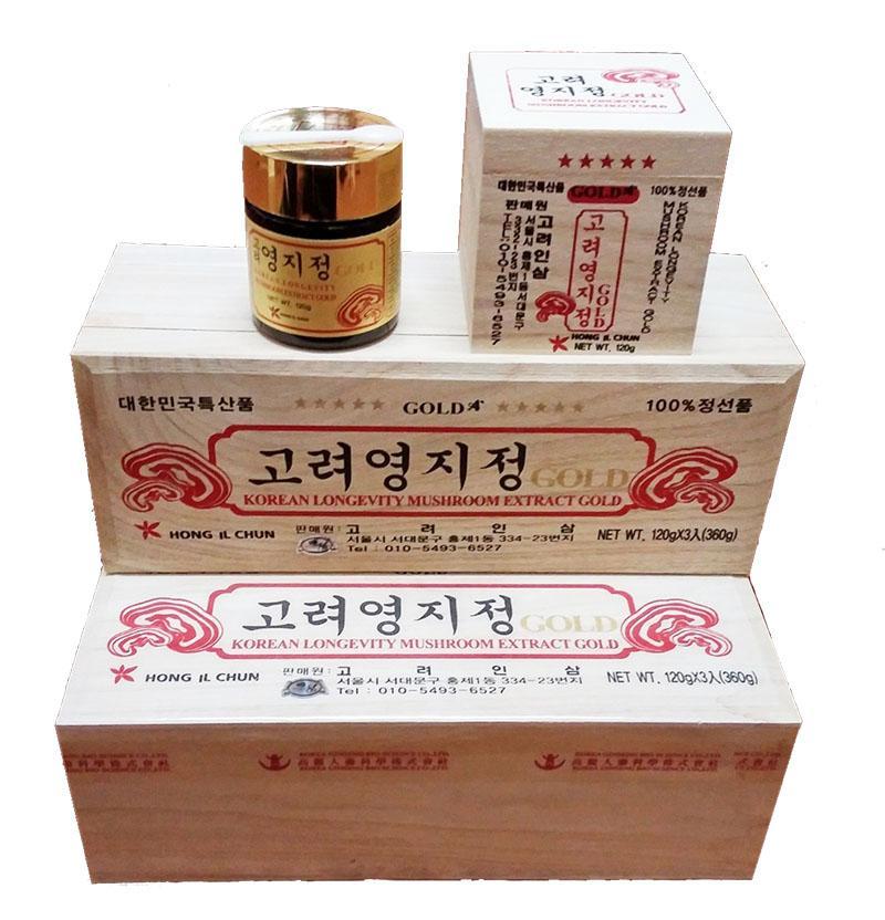 Cao linh chi Hàn Quốc sao vàng Gold hộp gỗ 3 lọ x 120g